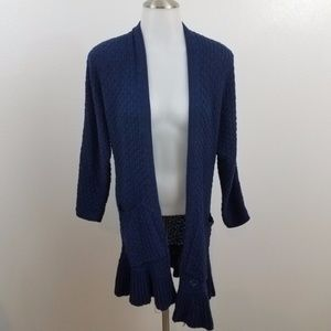 guinevere anthropologie navy blue cardigan open